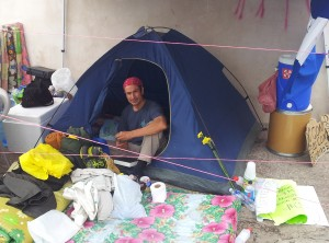 Hunger striker German Ayala in the camp