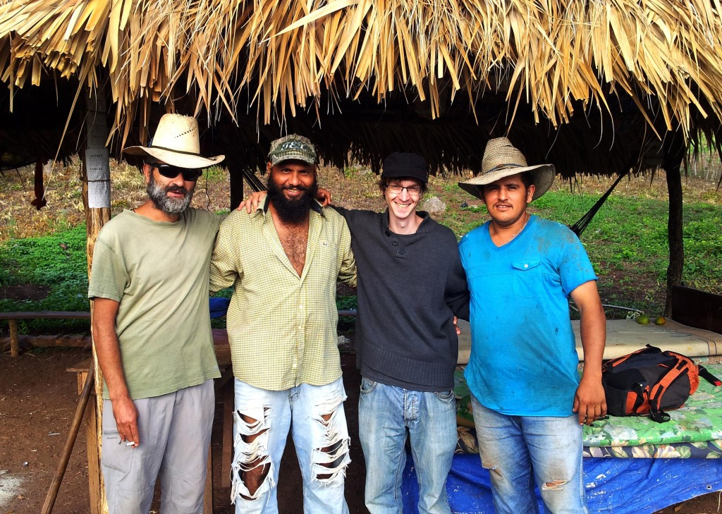 ENCA member James at San Juan: from left to right: Luis Diaz Terán (Spanish volunteer at COPINH), Abener Jimenez, James Watson and Melvin Jimenez