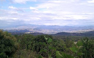 The top of the IPES centre offers an incredible view over El Salvador, showing the steep mountainous terrain that El Salvadoran farmers struggle to make a living on