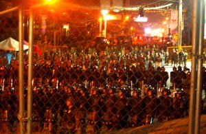 This blurry image best captures the mass of police and military lined up beyond the hunger strikers - the tension was palpable