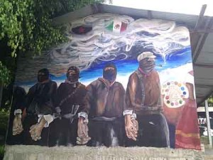 In the regional headquarters of the Zapatistas, one of the beautiful murals shows the revolutionary spirit of the movement